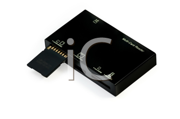 USB multi card reader with flash card, isolated on a white background.