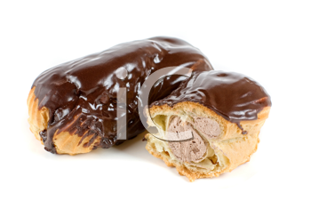 Chocolate Cream eclairs isolated on a white background
