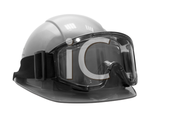 Build helmet with goggles on white. Black and white photo