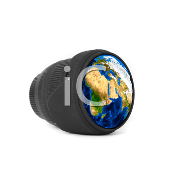 Lens with Earth reflected isolated on a white