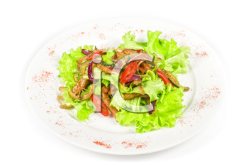 Salad of pork, courgette, lime with hazelnut and lettuce