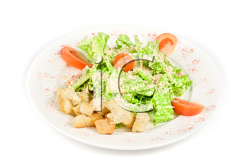 Caesar salad dish isolated on a white background
