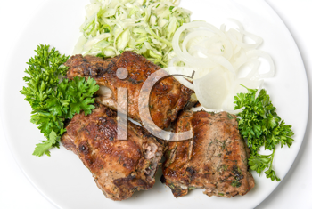 Royalty Free Photo of Roast Meat With Sauce and Vegetables
