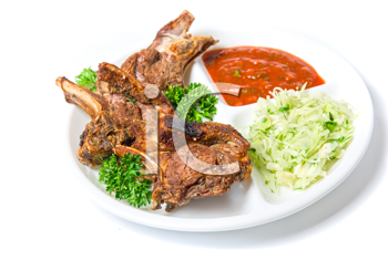 Royalty Free Photo of Grilled Meat With Sauce and Vegetables
