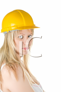 Royalty Free Photo of a Woman Wearing a Yellow Hardhat