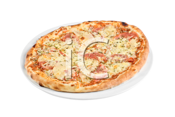 Pizza with mushrooms, ham isolated on white background