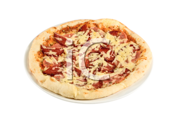 Salami pizza isolated on a white background
