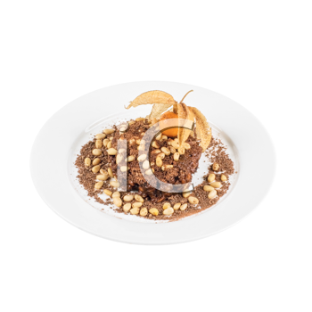 Chocolate risotto dessert closeup isolated on a white background