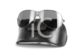 Modern black sunglasses isolated on a white