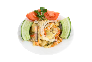 Healthy restaurant food: meat, potatoes, tomatoes and cucumbers on white