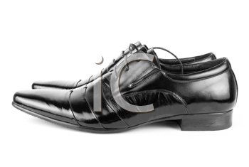 Black men shoes detail on isolated white background