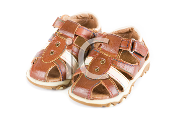Summer baby shoes isolated on a white