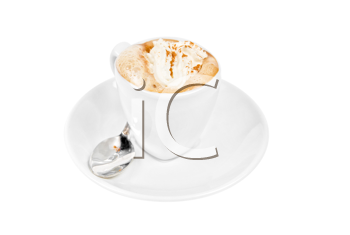 espresso coffee cup with whipped cream and,cinnamon