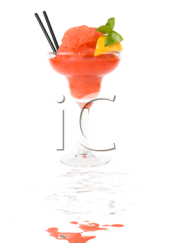 Fresh cocktail with watermelon, lemon and mint isolated on white