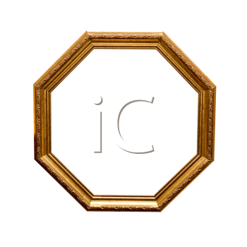 antique wooden hexahedron frame isolated on a white background