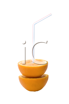 Royalty Free Photo of a Straw in an Orange