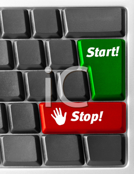 Royalty Free Photo of a Close-up of Computer Keyboard With Start and Stop Key