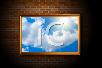 Blue color sky picture on the brick wall background