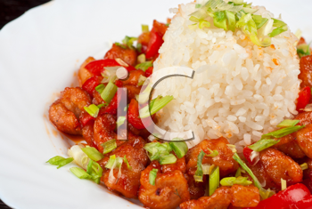 Pork meat and vegetables and pineapple with japanese rice