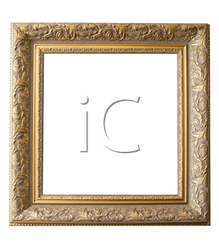 Picture gold frame with a decorative pattern on a white