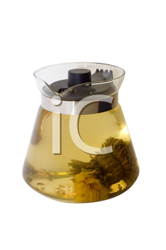 A glass teapot with Lotus Flower Chinese tea