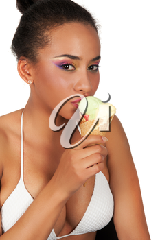 Portrait of sexy young beautiful woman eating sweet ice-cream on a white