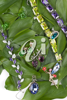 Jewelry with gems at green leaves