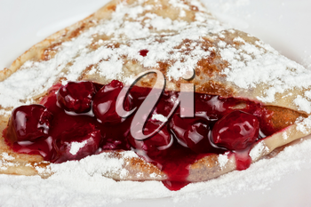 pancakes with sweet cherry sauce