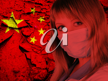 Female doctor with medical mask on China flag background. Concept of corona virus.