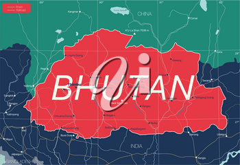 Bhutan country detailed editable map with regions cities and towns, roads and railways, geographic sites. Vector EPS-10 file