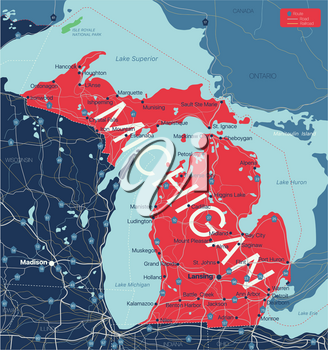 Michigan state detailed editable map with cities and towns, geographic sites, roads, railways, interstates and U.S. highways. Vector EPS-10 file, trending color scheme