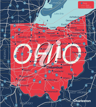 Ohio state detailed editable map with cities and towns, geographic sites, roads, railways, interstates and U.S. highways. Vector EPS-10 file, trending color scheme