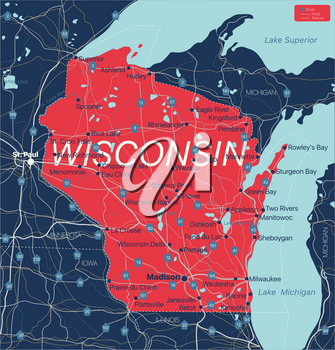 Wisconsin state detailed editable map with cities and towns, geographic sites, roads, railways, interstates and U.S. highways. Vector EPS-10 file, trending color scheme