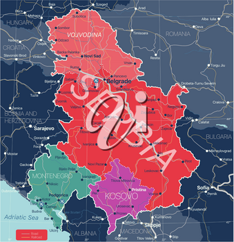 Serbia Kosovo and Montenegro countries detailed editable map with regions cities and towns, roads and railways, geographic sites. Vector EPS-10 file