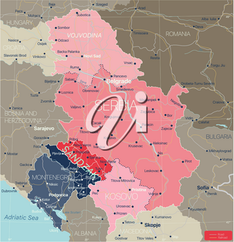 Sanjak region in Serbia and Montenegro, detailed editable map with regions cities and towns, roads and railways, geographic sites. Serbia Kosovo and Montenegro map. Vector EPS-10 file
