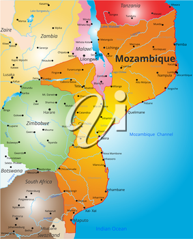 Vector color map of Mozambique country
