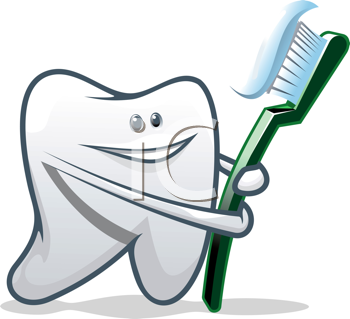 Royalty Free Clipart Image of a Tooth and Toothbrush