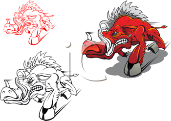 Royalty Free Clipart Image of a Running Boar
