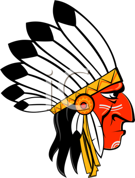 Royalty Free Clipart Image of a Native Man in Traditional Headdress