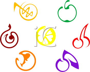 Royalty Free Clipart Image of a Set of Fruit Icons