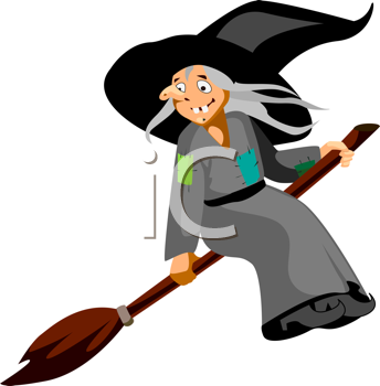 Royalty Free Clipart Image of a Witch and Broomstick
