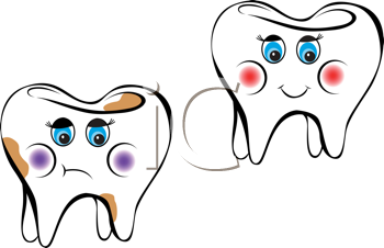Royalty Free Clipart Image of Two Teeth