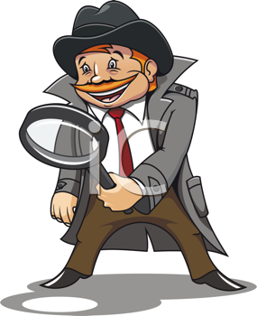Detective with magnifying glass for cartoon design