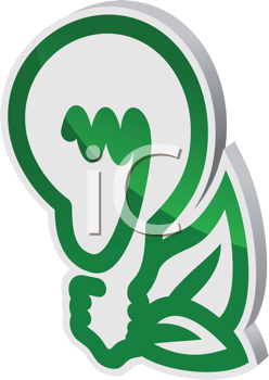 Ecological light bulb symbol with leaves in glossy style