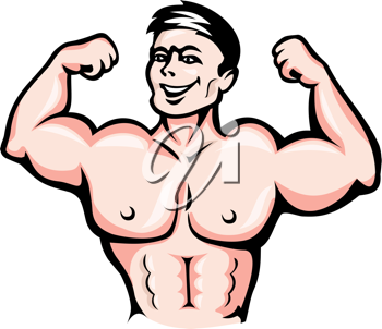 Strong athlete with muscles in cartoon style for sports design