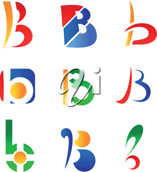 Set of alphabet symbols and icons of letter B