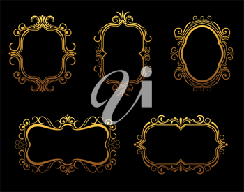 Set of antique golden frames for decoration