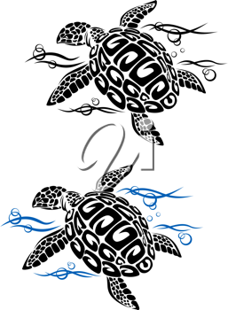 Turtle in sea water in cartoon style for tattoo or environment design