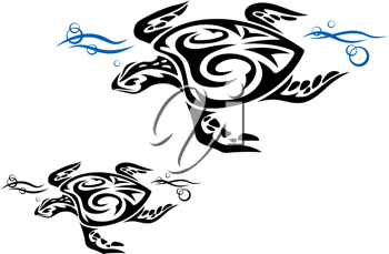 Turtle in ocean water in tribal style for tattoo design