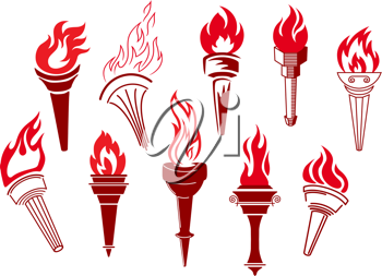 Flaming retro torches isolated on white background